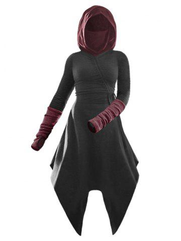 Hooded Cinched Contrast Asymmetrical Dress