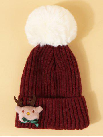 Christmas Elk Design Knitted Pom Pom Hat - RED WINE
