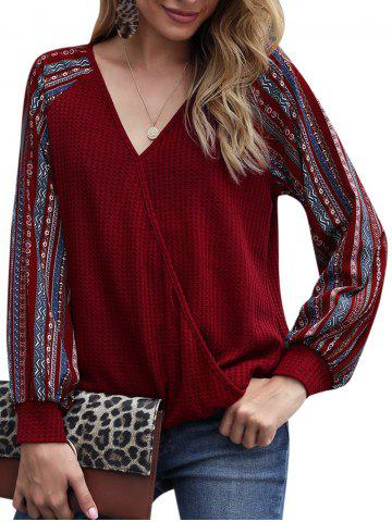 Tribal Print Raglan Sleeve Surplice Knitwear