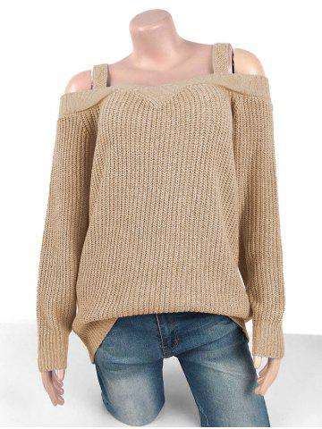 Plus Size Chunky Cold Shoulder Sweater - LIGHT COFFEE - XL