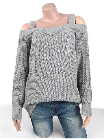 Plus Size Chunky Cold Shoulder Sweater - LIGHT GRAY - M