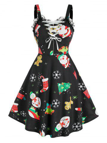 Lace Up Christmas Printed Dress