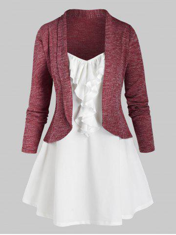 Plus Size Shawl Collar Short Cardigan and Jabot Top Set - RED WINE - 3X