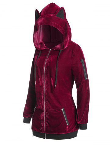 Plus Size Velvet Hooded Zipper Pocket Cat Ear Coat - DEEP RED - 3X