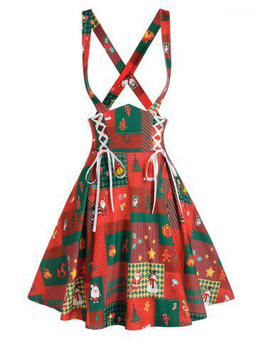 Christmas Printed Lace Up Suspender Skirt - RED - 3XL