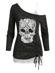 Skull Lace Pattern Cold Shoulder Two Piece T Shirt -