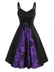 Lace-up Halloween Skull Patterned A Line Dress -