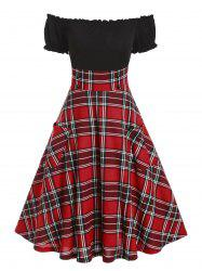Off The Shoulder Double Pockets Plaid Print Dress -
