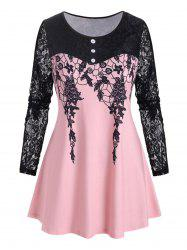 Plus Size Lace Sleeve Printed T Shirt -