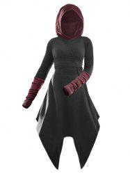 Hooded Cinched Contrast Asymmetrical Dress -