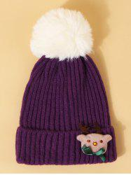 Christmas Elk Design Knitted Pom Pom Hat -