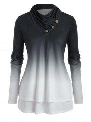 Plus Size Ombre Cowl Neck Double Layered Jersey Top -