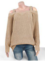 Plus Size Chunky Cold Shoulder Sweater -