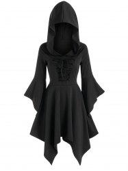 Flare Sleeve Lace-up Hooded Handkerchief Dress -