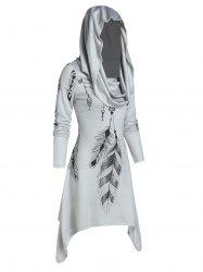 Hooded Feather Print Convertible Dress -