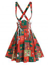 Christmas Printed Lace Up Suspender Skirt -