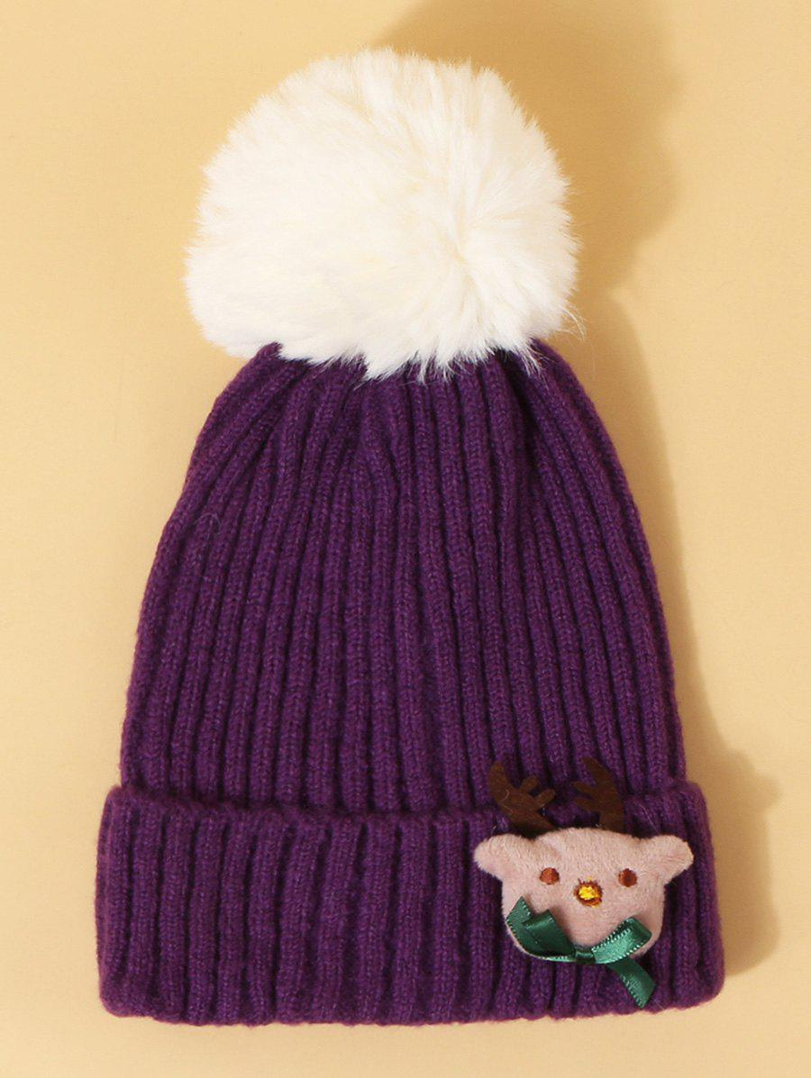 Trendy Christmas Elk Design Knitted Pom Pom Hat