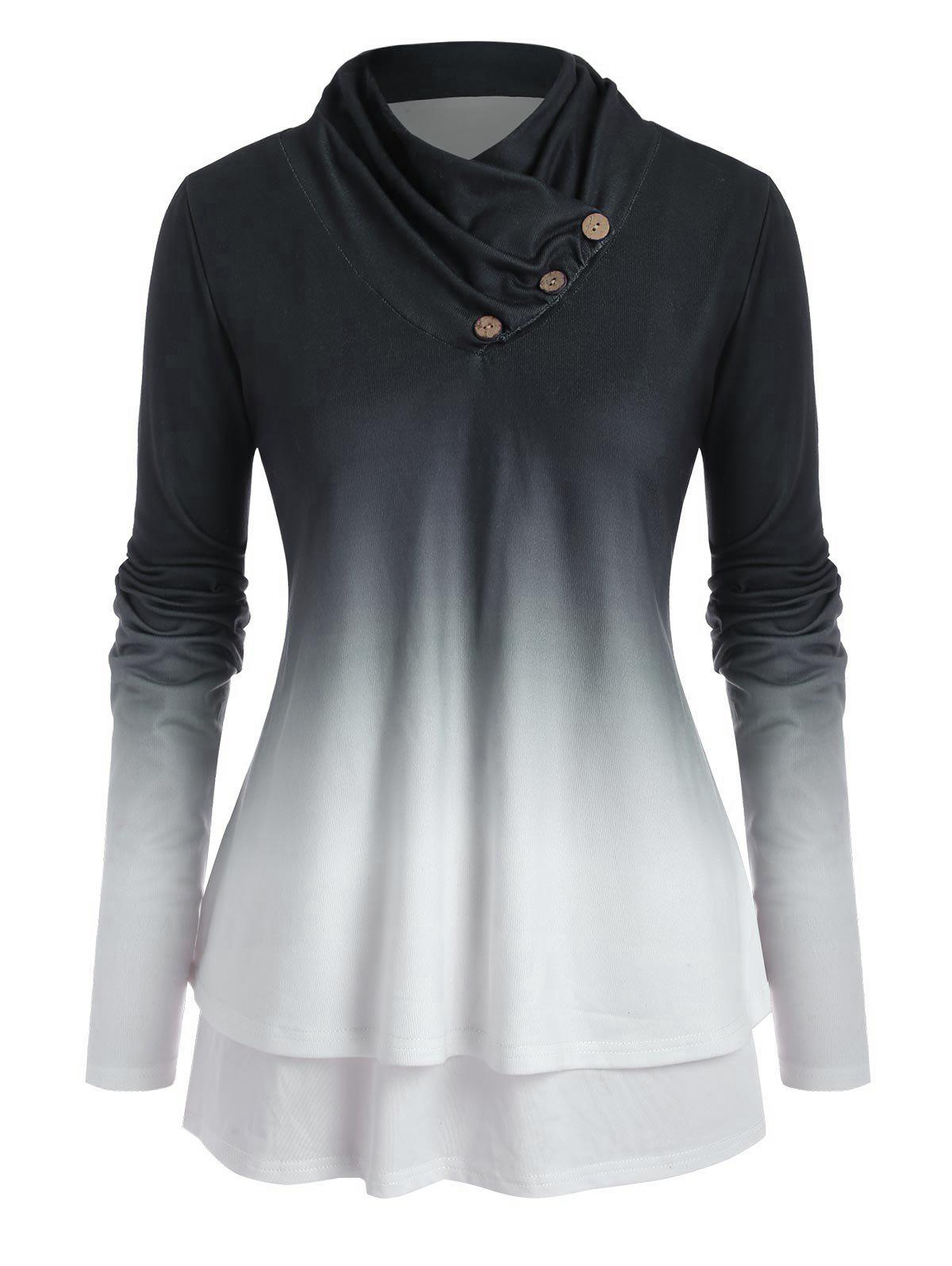 Hot Plus Size Ombre Cowl Neck Double Layered Jersey Top
