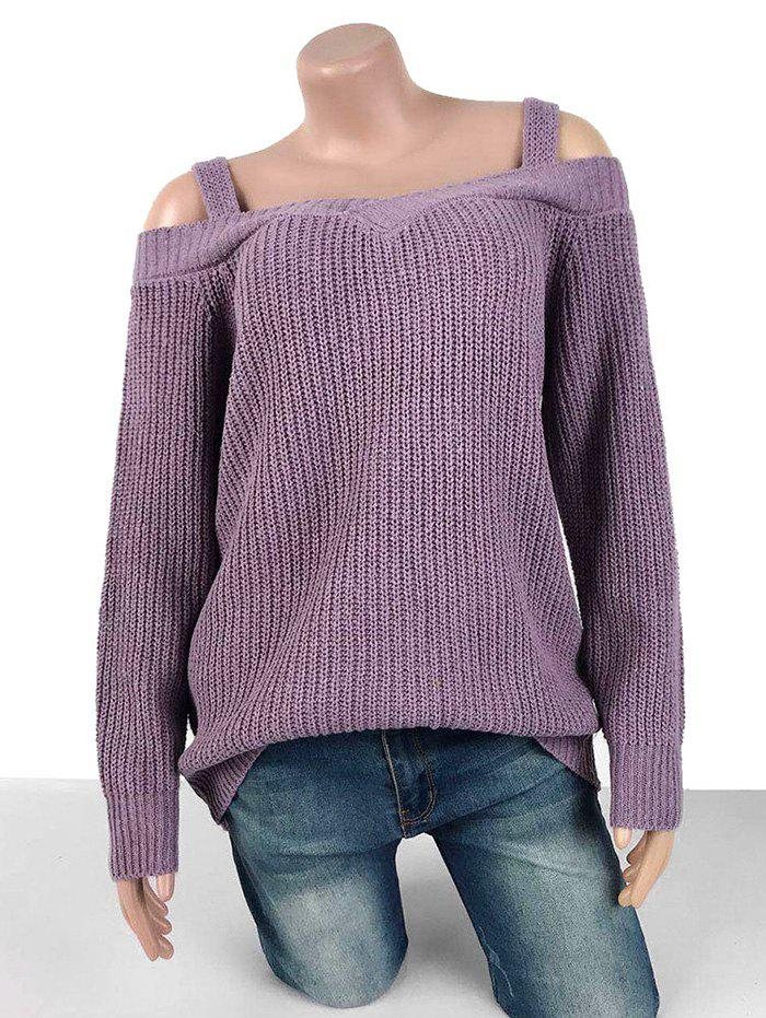 Affordable Plus Size Chunky Cold Shoulder Sweater