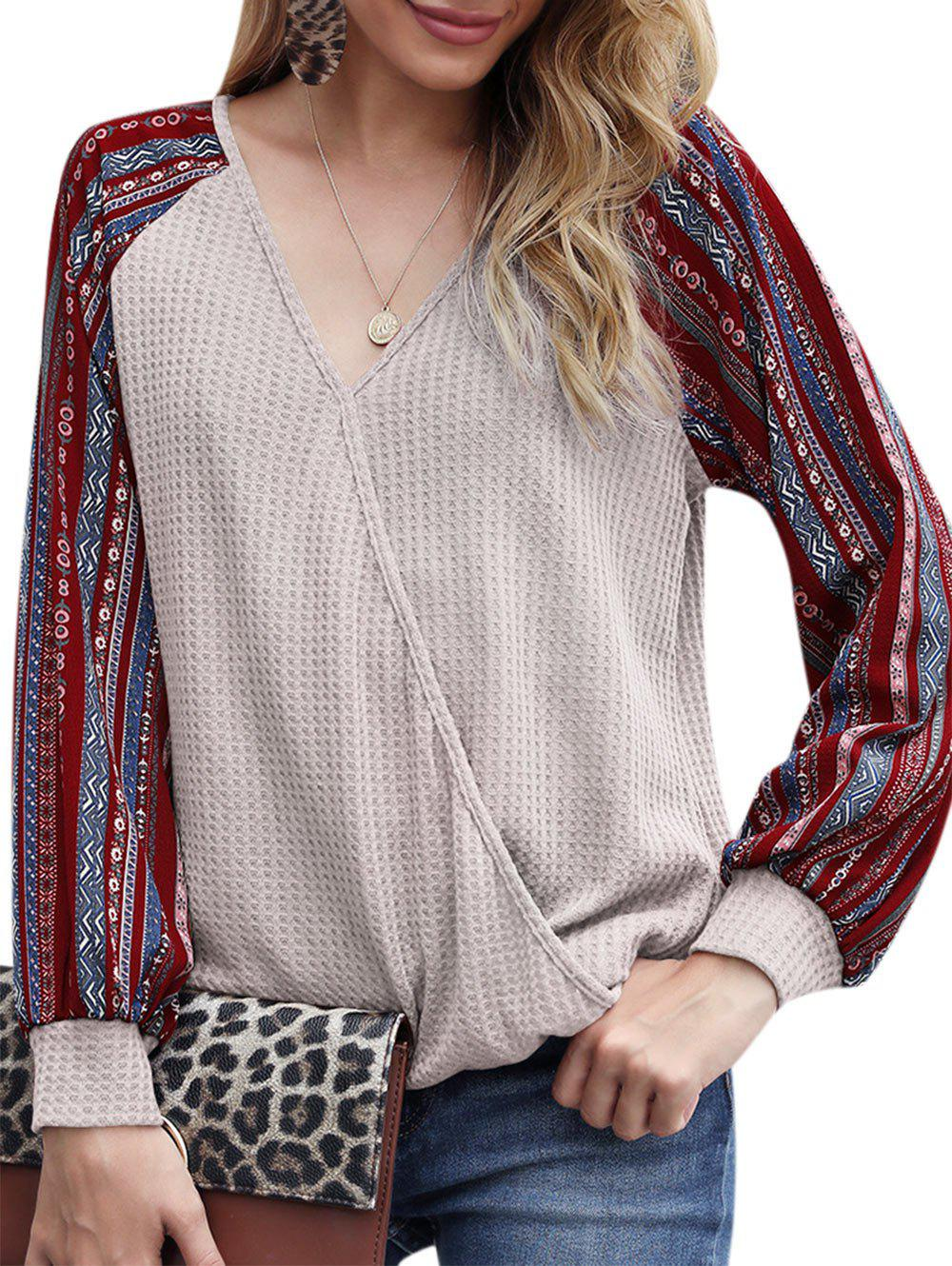 Fancy Tribal Print Raglan Sleeve Surplice Knitwear
