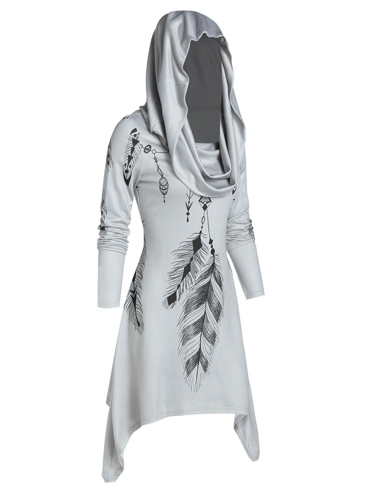 Fancy Hooded Feather Print Convertible Dress