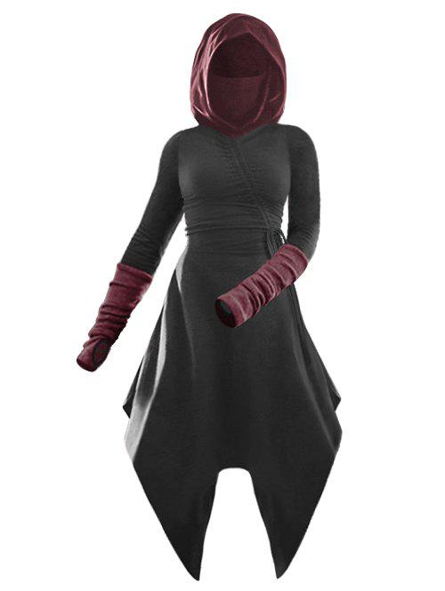 Best Hooded Cinched Contrast Asymmetrical Dress