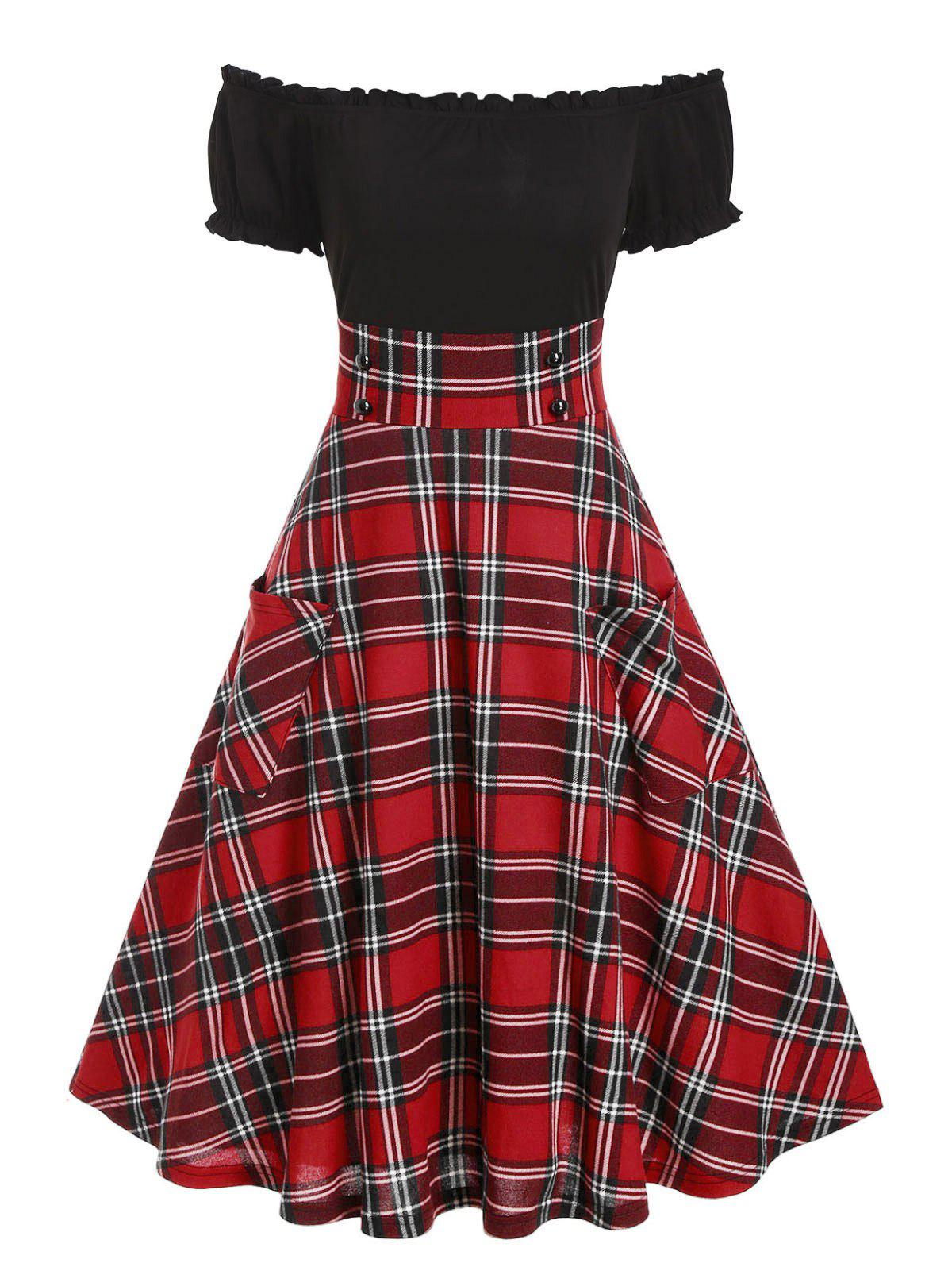 Buy Off The Shoulder Double Pockets Plaid Print Dress