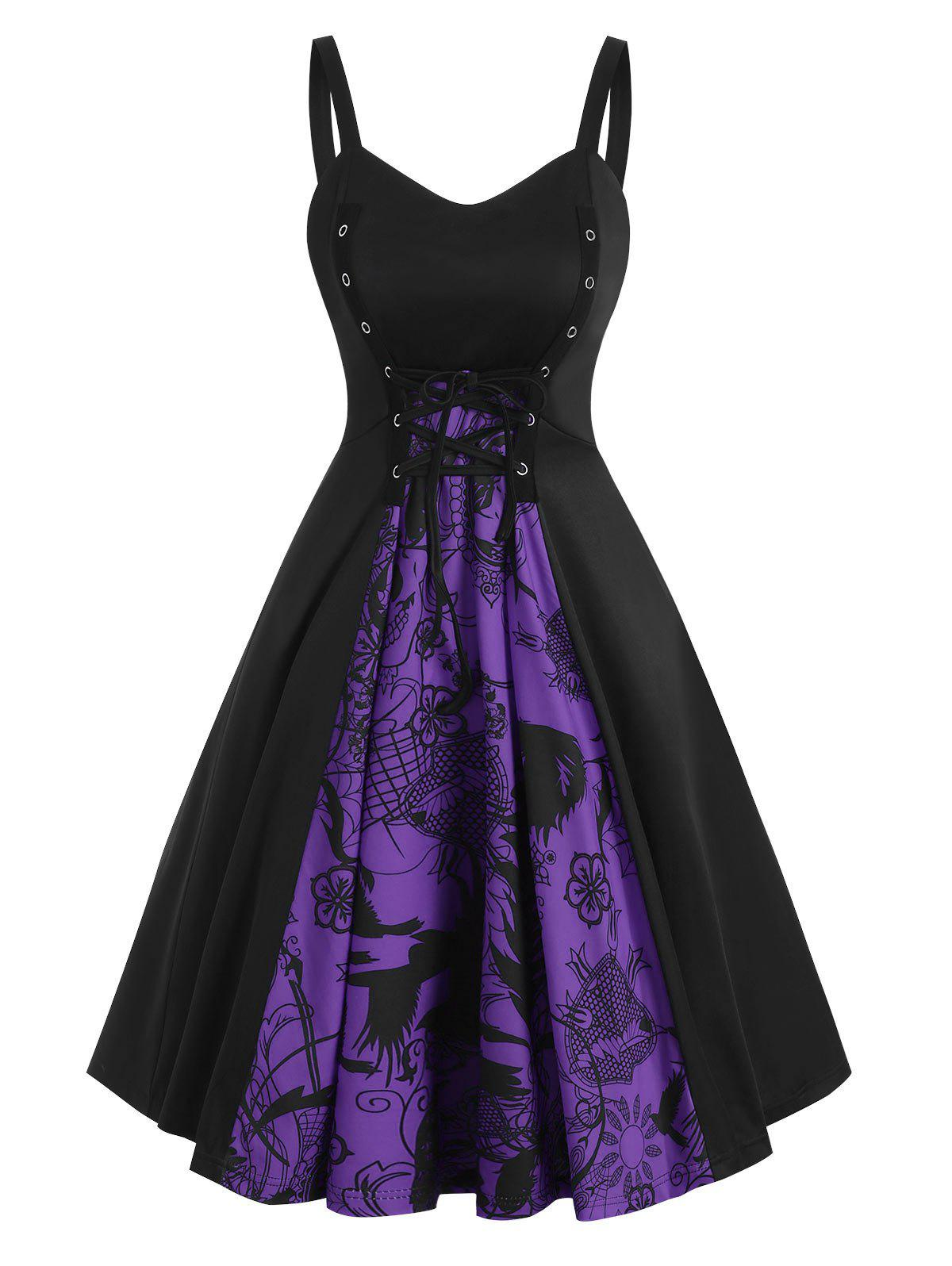 Outfits Lace-up Halloween Skull Patterned A Line Dress