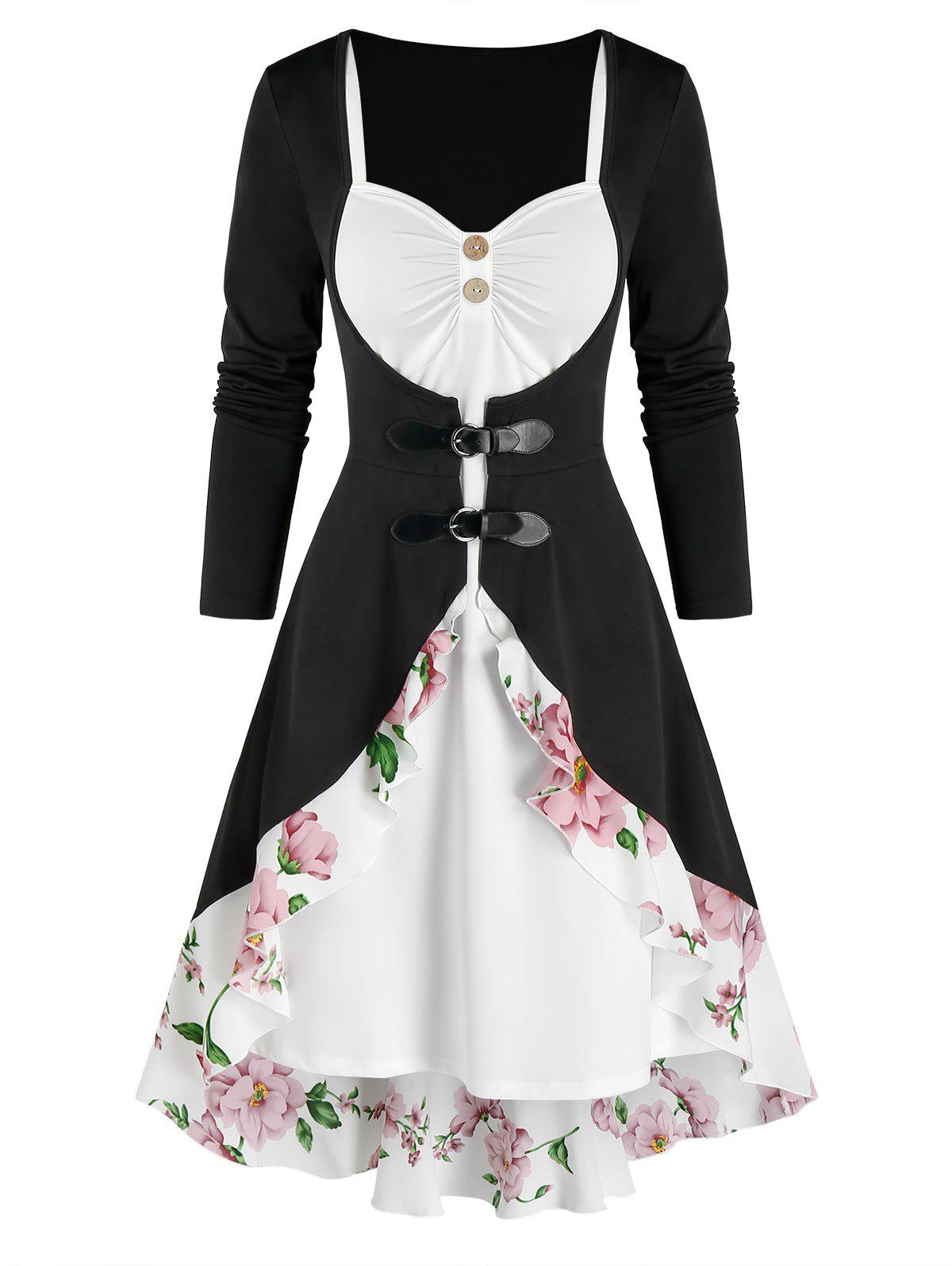Chic Buckle Flounced Floral Cardigan and Dress Set