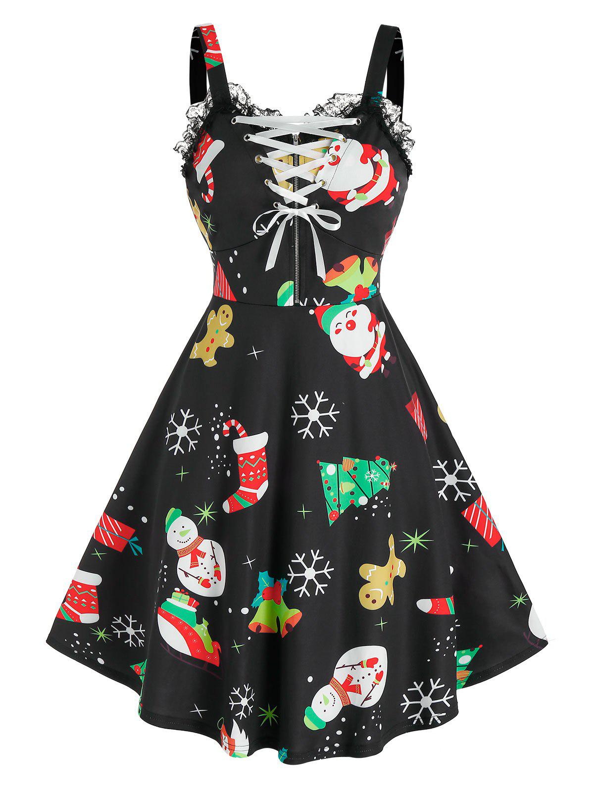 Outfit Lace Up Christmas Printed Dress