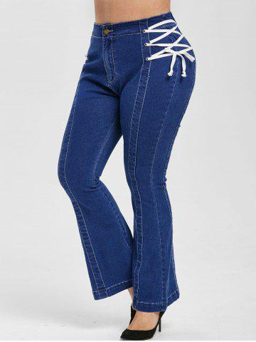 Plus Size Lace Up Bell Bottom Jeans - BLUE - 4X