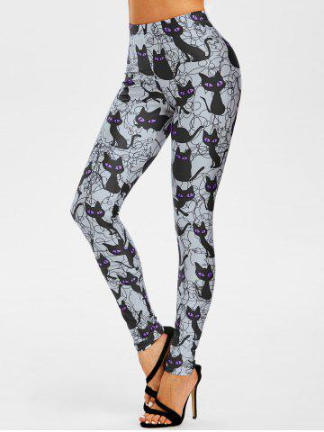 Halloween Cat Pattern High Rise Leggings