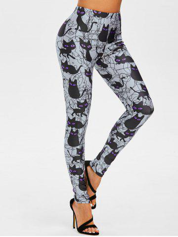 Legging d'Halloween Motif de Chat à Coupe Haute - PURPLE - XXL