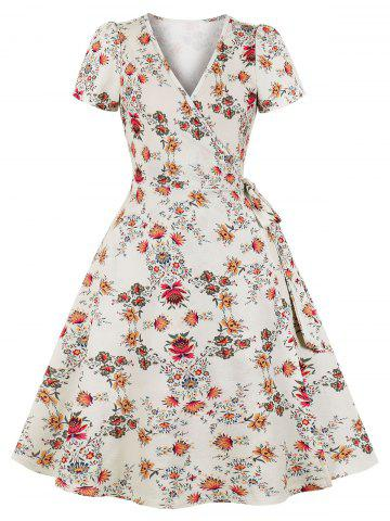Floral Wrap Short Sleeve Dress