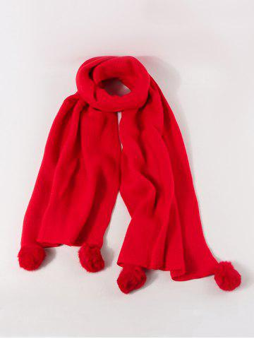 Faux Cashmere Knitted Pom Pom Scarf - LAVA RED
