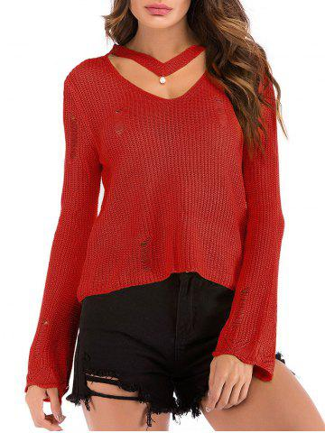 Beading Choker Ripped Flare Sleeve Sweater
