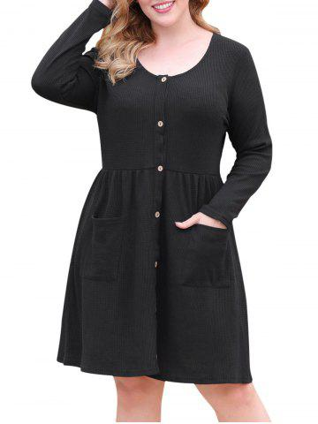Textured Button Up Dual Pocket Plus Size Dress
