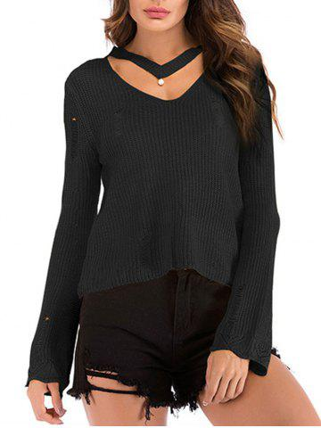 Beading Choker Ripped Flare Sleeve Sweater - BLACK - L