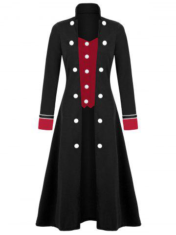 Plus Size Long Double Breasted Coat - BLACK - 4XL