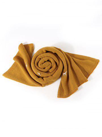 Embroidery Elk Pattern Knitted Long Scarf - BEE YELLOW
