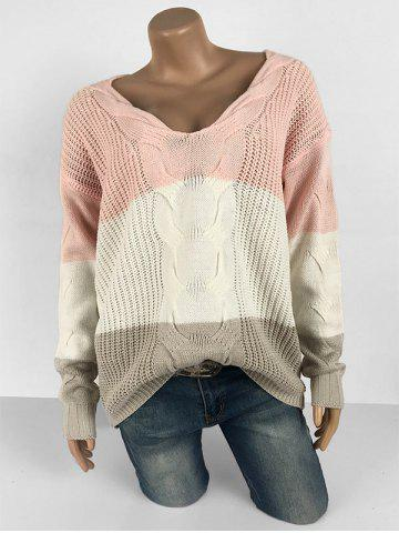 Plus Size Drop Shoulder Colorblock Sweater