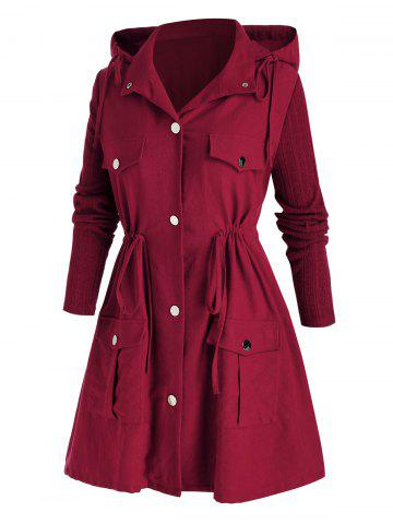 Plus Size Hooded Drawstring Pocket Tunic Coat - RED WINE - 2X