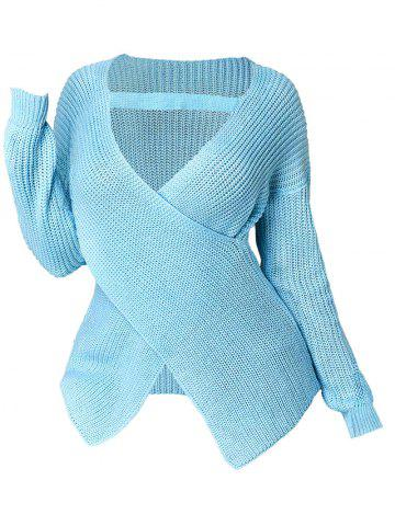 Plus Size Plunge Crossover Sweater - LIGHT BLUE - 3X
