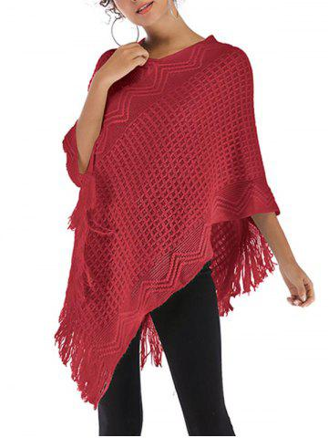 Pull Poncho Convertible à Frange - RED WINE - ONE SIZE