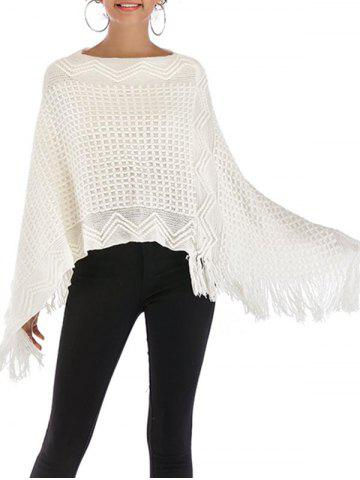 Fringed Convertible Poncho Sweater - MILK WHITE - ONE SIZE