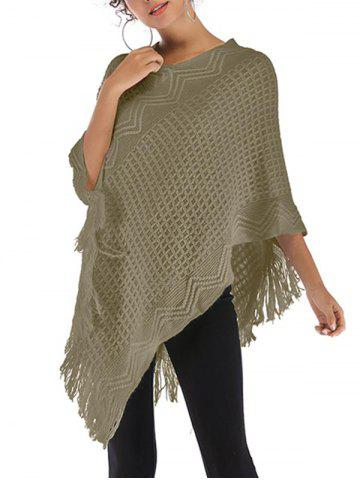 Fringed Convertible Poncho Sweater - DEEP GREEN - ONE SIZE