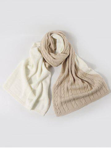 Contrast Knitted Long Scarf - BEIGE