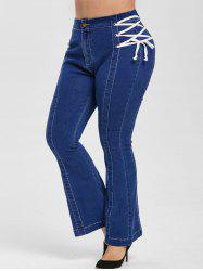 Plus Size Lace Up Bell Bottom Jeans -