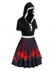 Plus Size Halloween Printed Hooded Flare Dress -