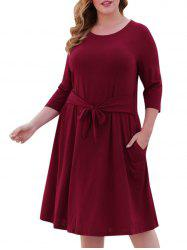 Seam Pockets Tie Waist Plus Size Casual Dress -
